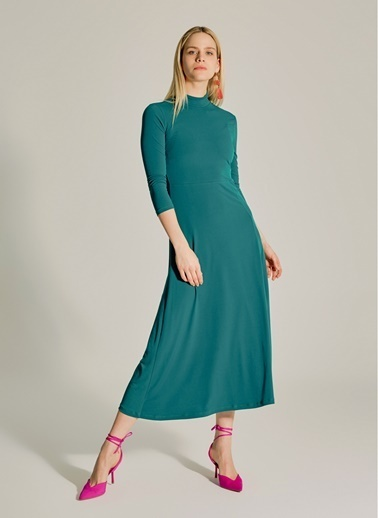 NGSTYLE Yırtmaçlı Uzun Örme Elbise Yeşil
